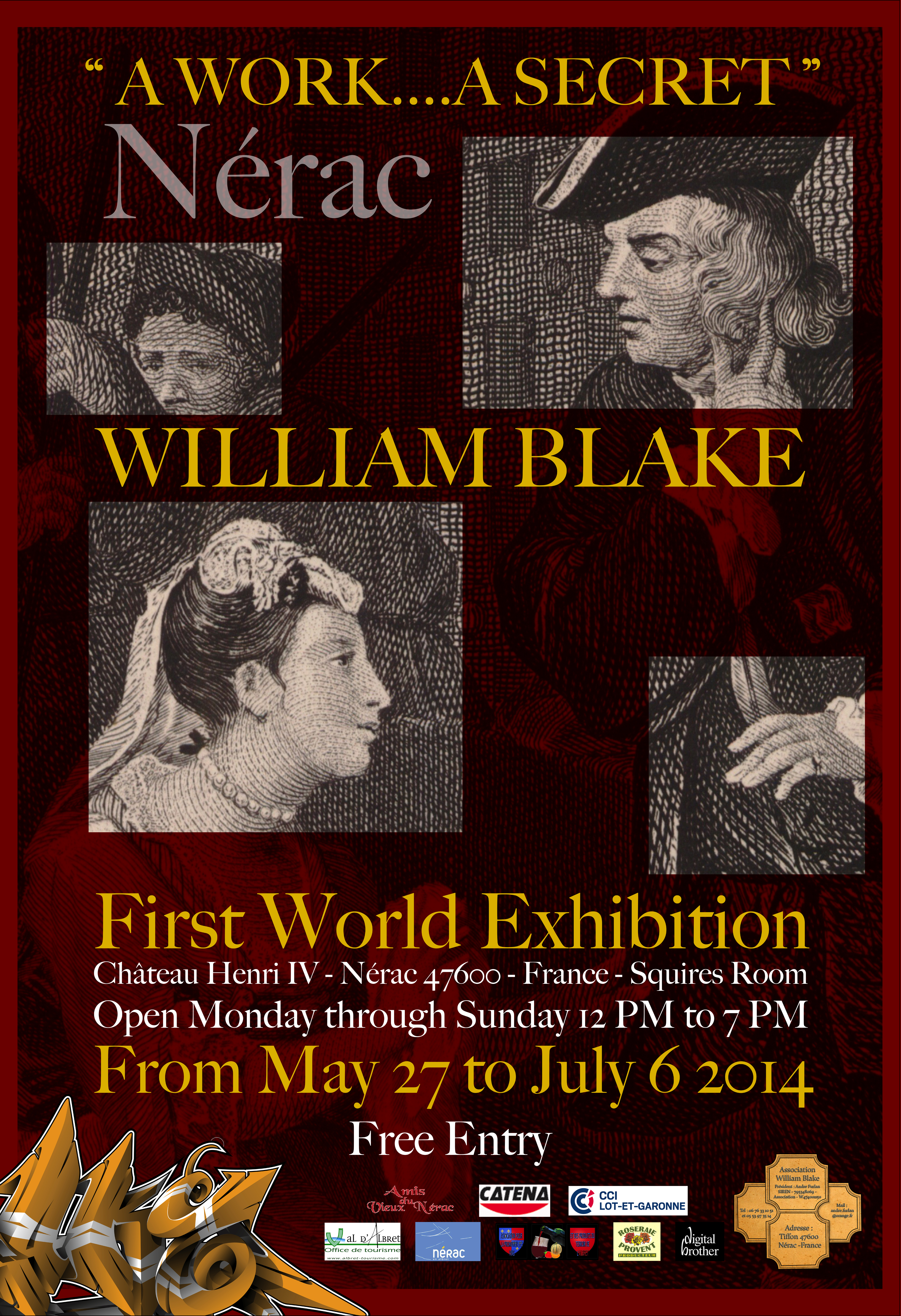 Poster for William Blake Exposition Premiere Mondiale Chateau Henri IV Nerac 47600 France Salle Des Ecuyers