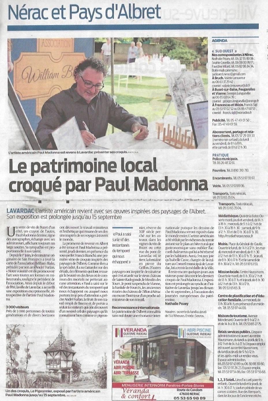 Le patrimoine local croqué par Paul Madonna