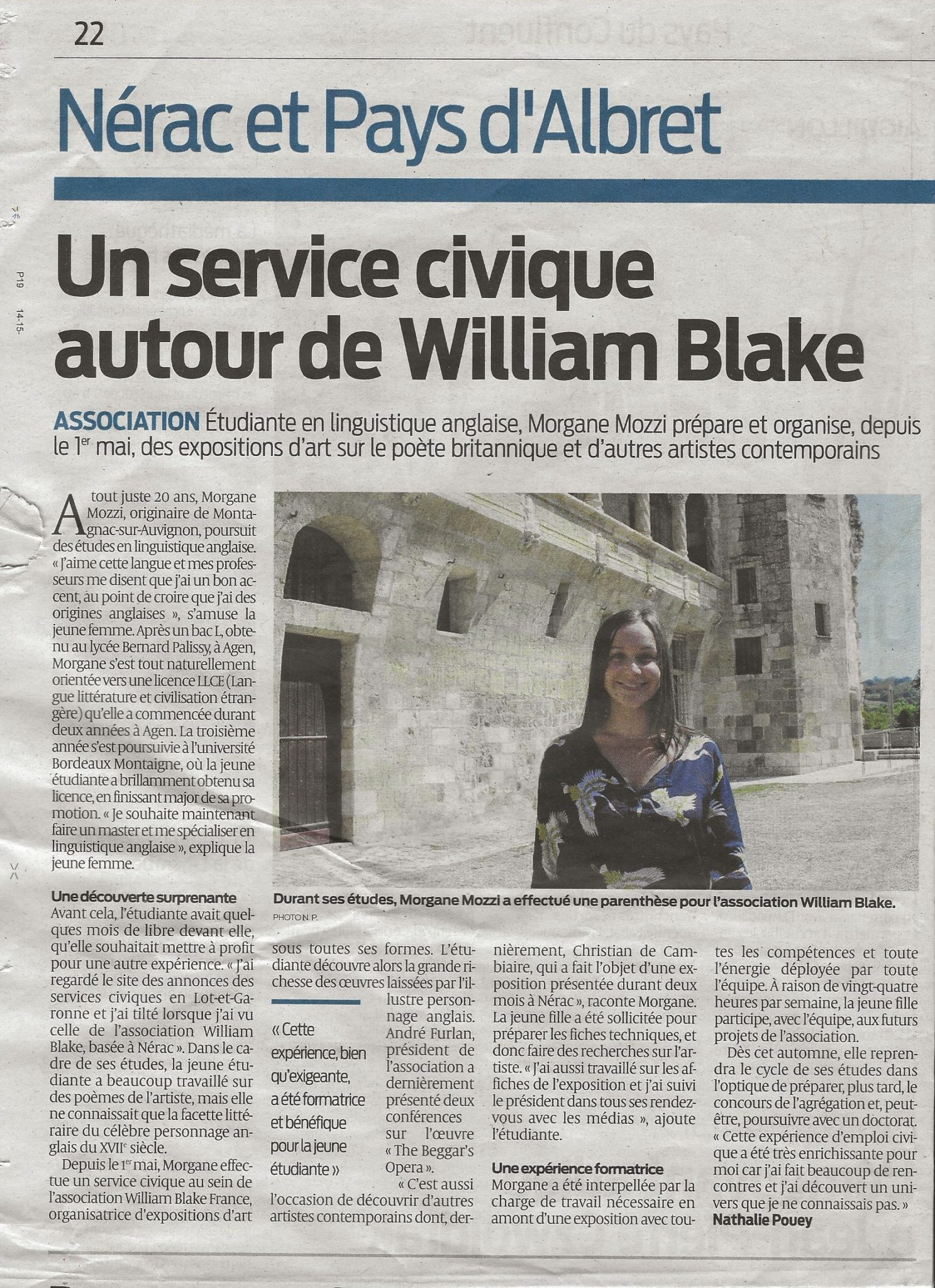 Un service civique autour de William Blake