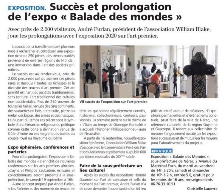 """Succès et prolongation de l'expo """"Balade des mondes"""""""